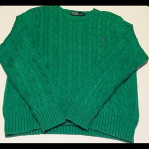 Polo Ralph Lauren Cable Knit Sweater Green Cotton